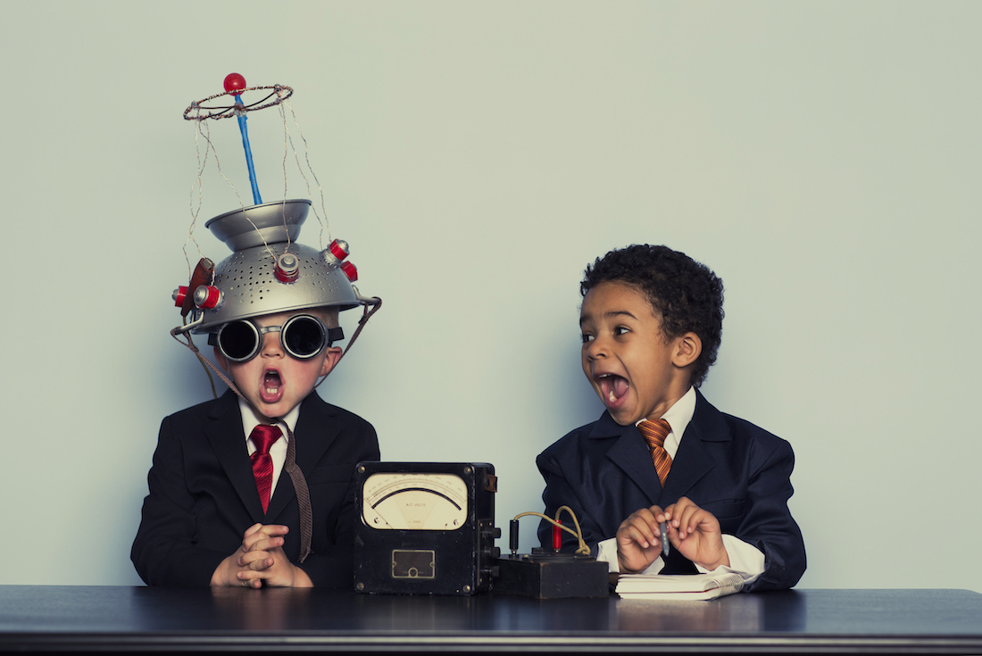 Two young boys are ready to brainstorming for your business.